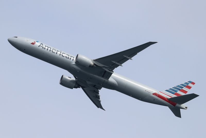 An American Airlines plane takes off from Sydney Airport in Sydney