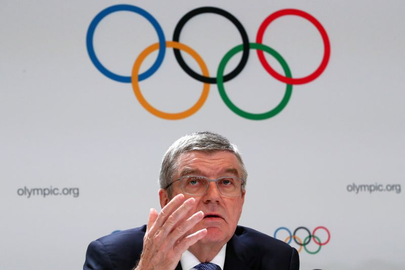 FILE PHOTO: Bach President of the IOC attends a news conference after the 135th Session in Lausanne