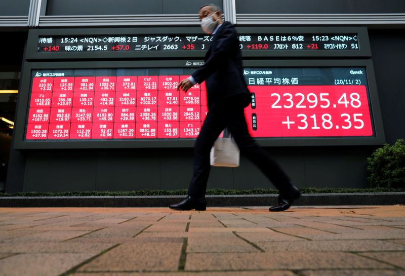 FILE PHOTO: A man wearing a protective face mask walks past a stock quotation board outside a brokerage, amid the coronavirus disease (COVID-19) outbreak, in Tokyo