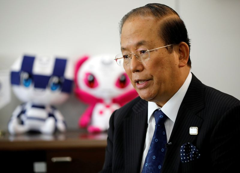 Toshiro Muto, Tokyo 2020 Organizing Committee Chief Executive Officer, speaks during an interview with Reuters in Tokyo