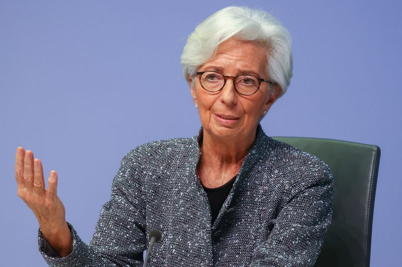 FILE PHOTO: European Central Bank (ECB) President Christine Lagarde gestures as she addresses a news conference on the outcome of the meeting of the Governing Council, in Frankfurt
