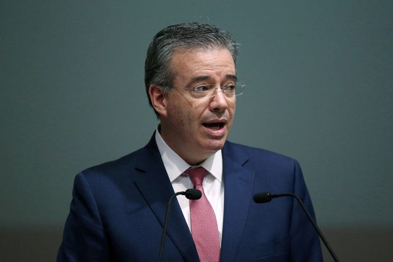 Mexico's Central Bank Governor Alejandro Diaz de Leon Carrillo speaks during the presentation of the national financial inclusion policy, in the Interactive Museum of Economics (MIDE) in Mexico City