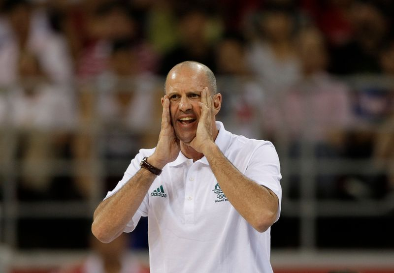Australia's head coach Goorjian shouts during their preliminary Group A men's basketball game against Russia at the Beijing 2008 Olympic Games