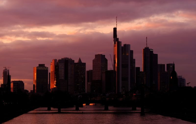 The skyline with its banking district is photographed in Frankfurt