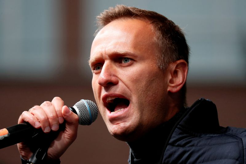 FILE PHOTO: Russian opposition leader Navalny attends a rally in Moscow