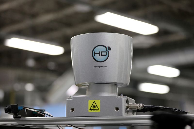 FILE PHOTO: A Velodyne Lidar sensor is seen on an autonomous vehicle at the BlackBerry QNX headquarters in Ottawa