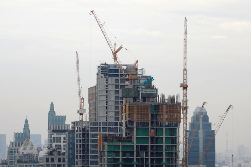 Luxury apartment buildings under construction are seen in Bangkok