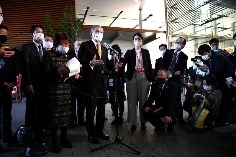 International Olympic Committee (IOC) president Thomas Bach speaks to the media after his meeting with Japan's Prime Minister Yoshihide Suga in Tokyo on November 16, 2020