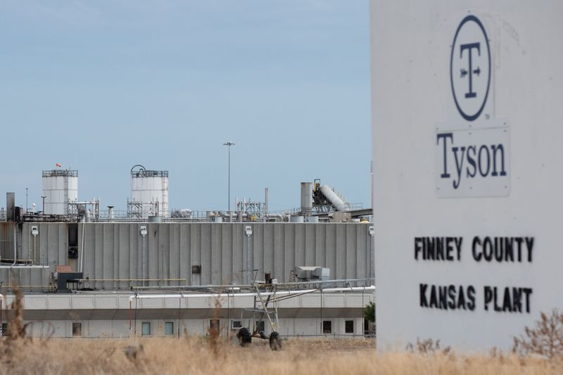 FILE PHOTO: Tyson Fresh Meats processing plant is seen three days after a fire heavily damaged the facility in the Finney County town of Holcomb