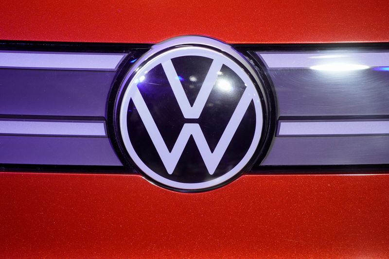 A Volkswagen logo is seen at a construction completion event of SAIC Volkswagen MEB electric vehicle plant in Shanghai