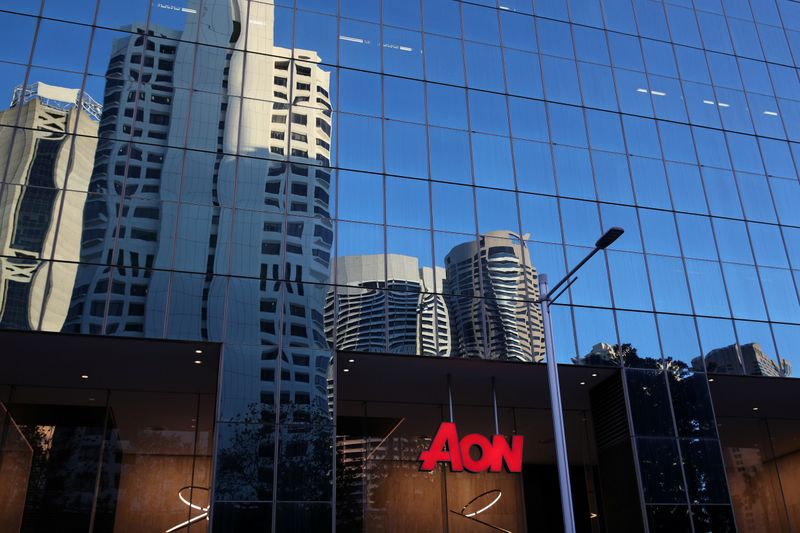 FILE PHOTO: An office building with Aon logo is seen in Sydney