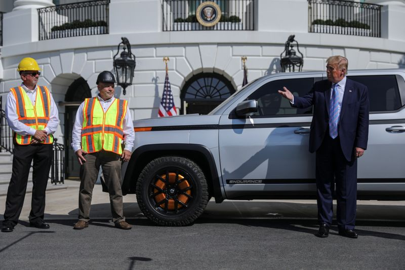 U.S. President Trump inspects electric pickup truck at the White House in Washington
