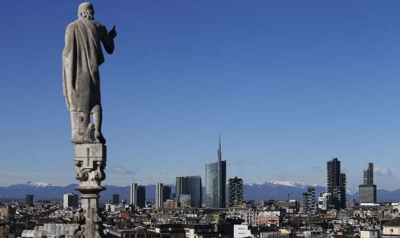 The skyline of Porta Nuova's district is seen in Milan
