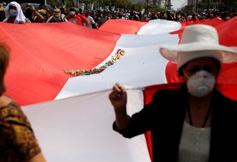 Demonstrators carry a national flag as Peru's Congress elected legislator Francisco Sagasti as the country's interim president, in Lima