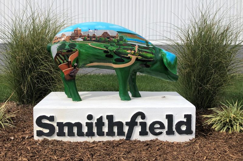 A sculpture adorns Smithfield Foods' hog slaughterhouse in Smithfield