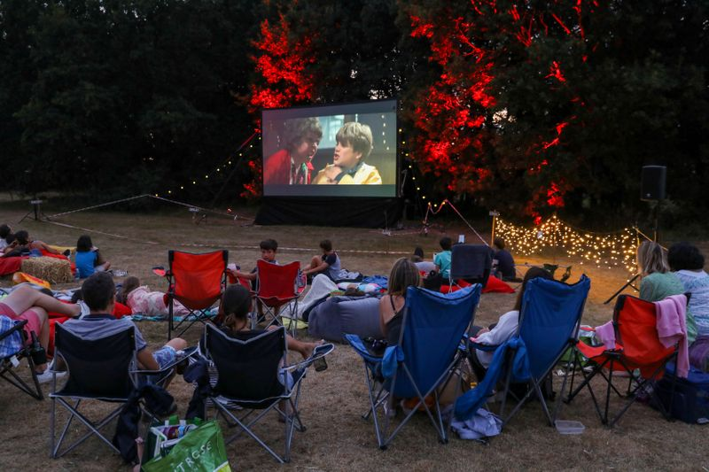 FILE PHOTO: People watch the movie The Goonies at