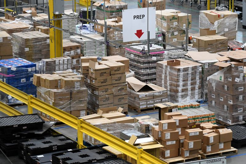An overview of the product prep area of the Amazon fulfilment center is seen in Baltimore