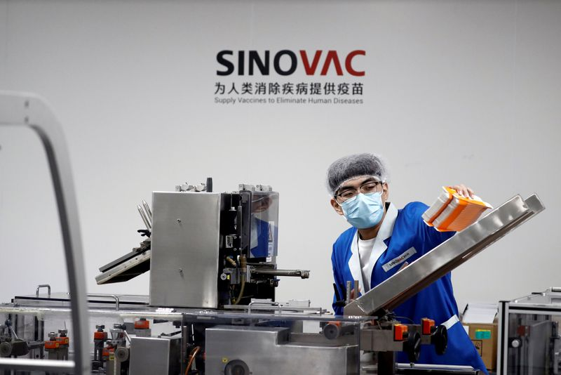 FILE PHOTO: Media tour at Chinese vaccine maker Sinovac Biotech in Beijing
