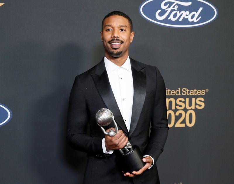 FILE PHOTO: 51st NAACP Image Awards – Photo Room– Pasadena - MIchael B. Jordan poses backstage with his Outstanding Actor