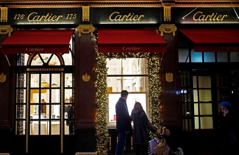 FILE PHOTO: Festive lights decorate the Cartier store on New Bond Street as shoppers do Christmas shopping in central London