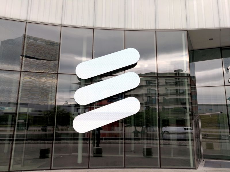 FILE PHOTO: FILE PHOTO: The Ericsson logo is seen at the Ericsson's headquarters in Stockholm