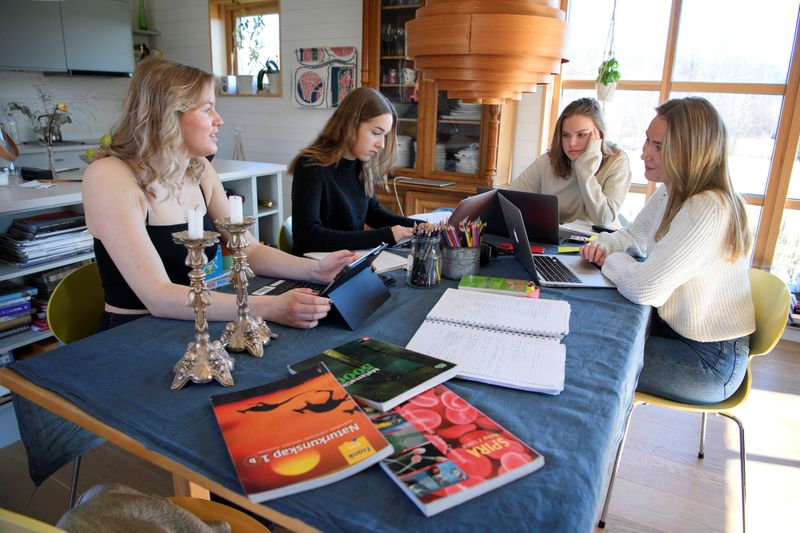 FILE PHOTO: Students study at home as high schools have closed in the country due to coronavirus outbreak, in Stockholm
