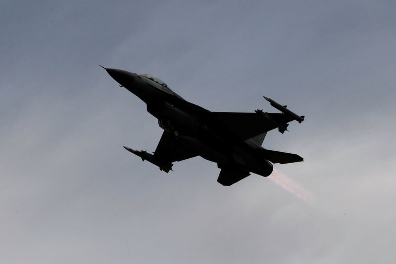 FILE PHOTO: A F-16 fighter jet takes off during a military drill at Zhi-Hang Air Base in Taitung