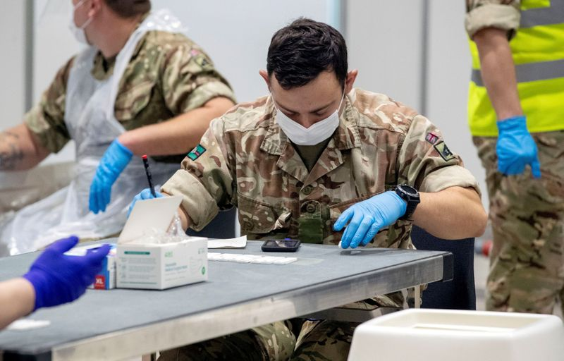 FILE PHOTO: Mass Covid testing in Liverpool under the first trial of whole city testing in England