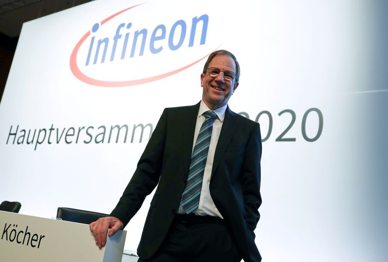 FILE PHOTO: Ploss, CEO of German semiconductor manufacturer Infineon poses before the company's annual shareholder meeting in Munich