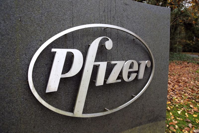 FILE PHOTO: The Pfizer logo is seen at their UK commercial headquarters in Walton Oaks