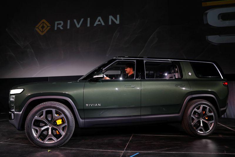 FILE PHOTO: Rivian introduces all-electric R1S SUV at LA Auto Show in Los Angeles, California