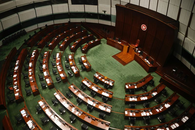 Legislative Council chamber is seen after legislators were disqualified when Beijing passed new dissent resolution in Hong Kong
