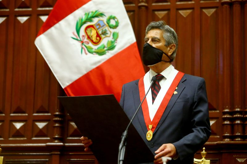 Peru's selected interim leader Sagasti attends his swearing-in ceremony