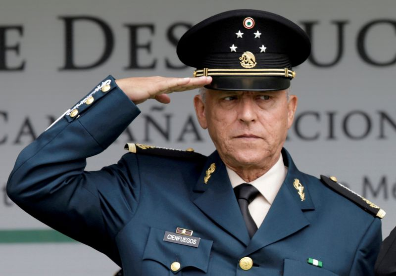 FILE PHOTO: Mexico's former Defense Minister General Salvador Cienfuegos attends an event at a military zone in Mexico City