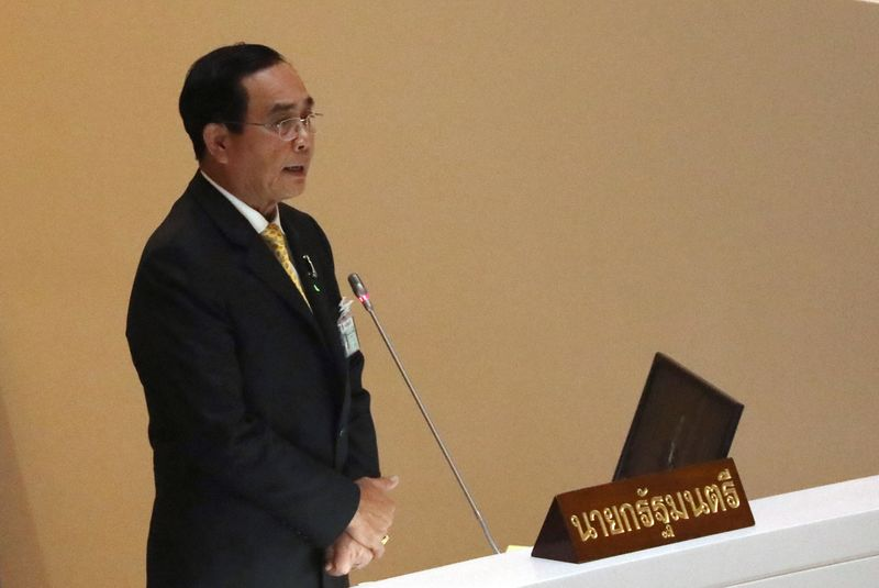 Thailand's PM Prayuth Chan-ocha attends a special parliament session in Bangkok