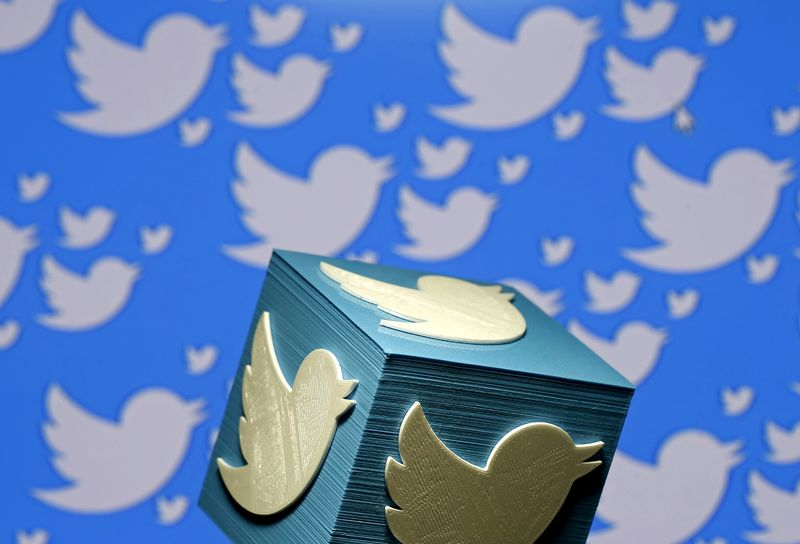 FILE PHOTO: A 3D-printed logo for Twitter is seen in this picture illustration