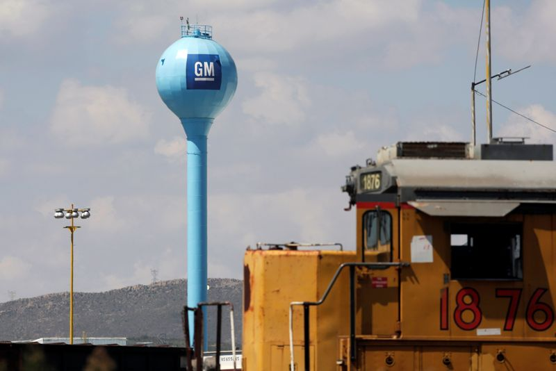 The GM logo is pictured at the General Motors Assembly Plant in Ramos Arizpe