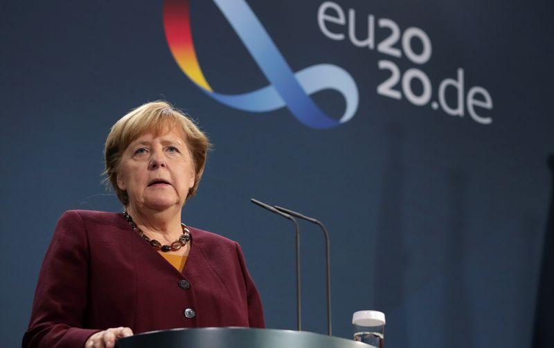 German Chancellor Angela Merkel addresses the media in Berlin