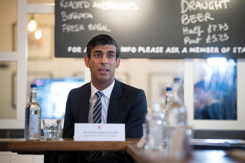 Britain's Chancellor of the Exchequer Rishi Sunak delivers an economic update in London