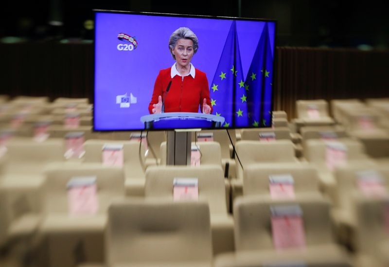 EU chiefs von der Leyen and Michel give press conference ahead of G20 meeting
