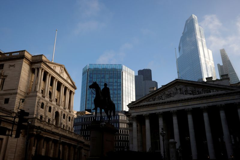 FILE PHOTO: A general view shows The Bank of England and the City of London financial district, amid the outbreak of the coronavirus disease (COVID-19), in London,