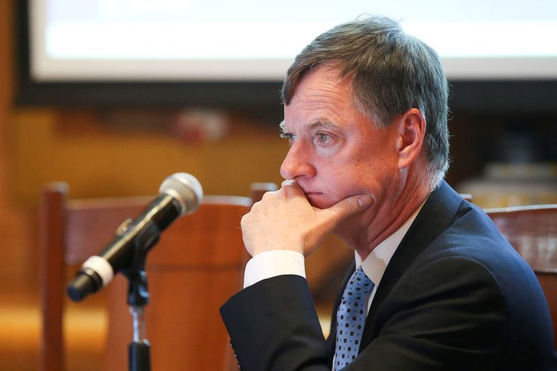 FILE PHOTO: Chicago Federal Reserve Bank President Charles Evans looks on during the Global Interdependence Center Members Delegation Event in Mexico City