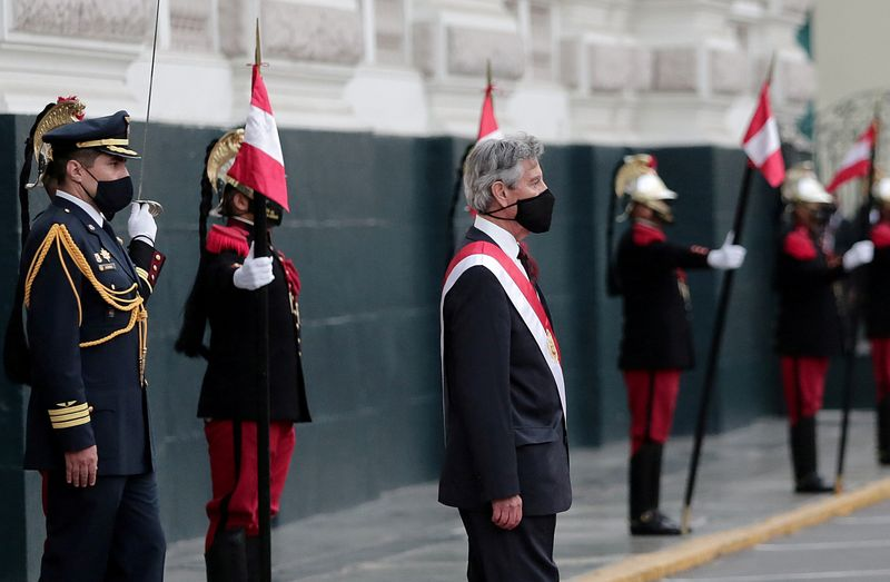 FILE PHOTO: Peru's selected interim leader Sagasti attends his swearing-in ceremony in Lima