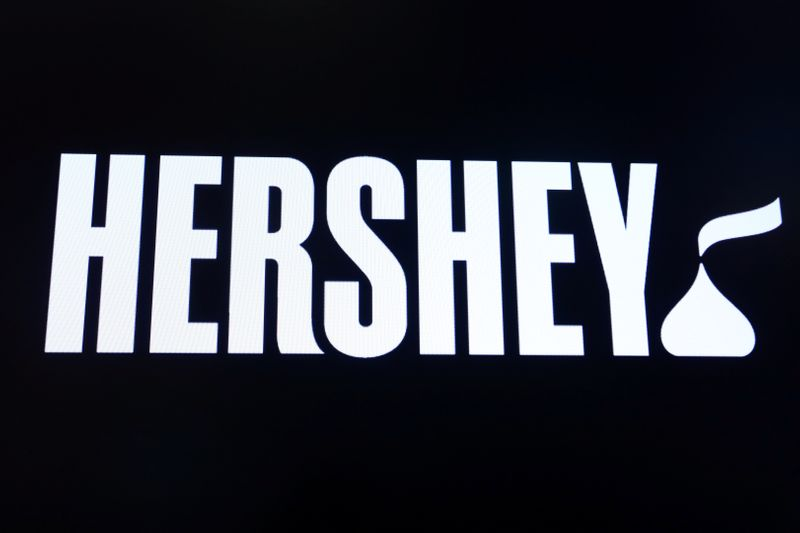 FILE PHOTO: The company logo for Hershey Co. is displayed on a screen on the floor of the NYSE in New York
