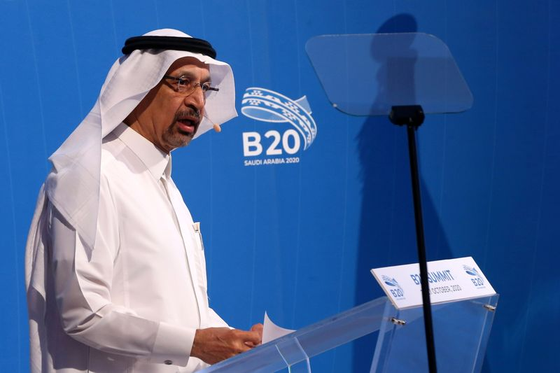FILE PHOTO: Saudi Arabian Investment Minister Khalid al-Falih, speaks during a virtual meeting of B20 at the Saudi Business Group summit in Riyadh