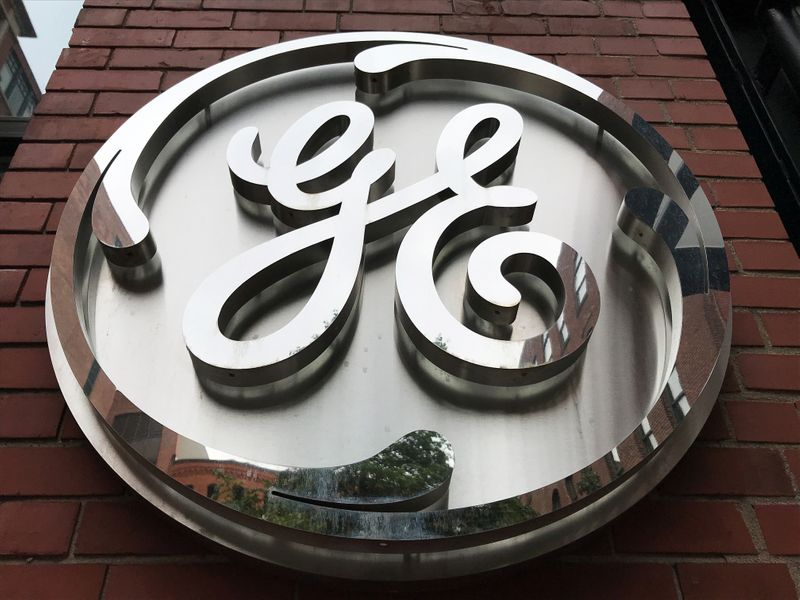 FILE PHOTO: The General Electric Co. logo is seen on the company's corporate headquarters building in Boston
