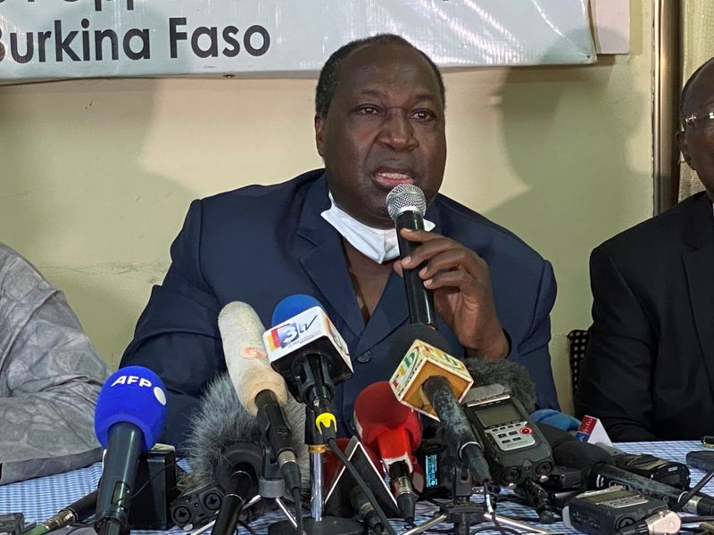 Opposition leader and presidential candidate Zephirin Diabre  holds a news conference ahead of the presidential and legislative elections, in Ouagadougou,