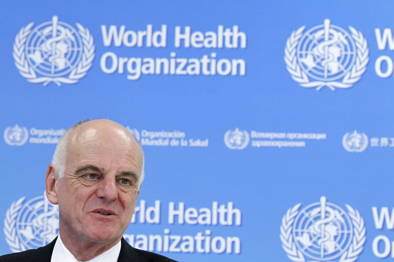 U.N. Secretary-General's Special Envoy for Ebola David Nabarro addresses the media on World Health Organization (WHO)'s health emergency preparedness and response capacities in Geneva