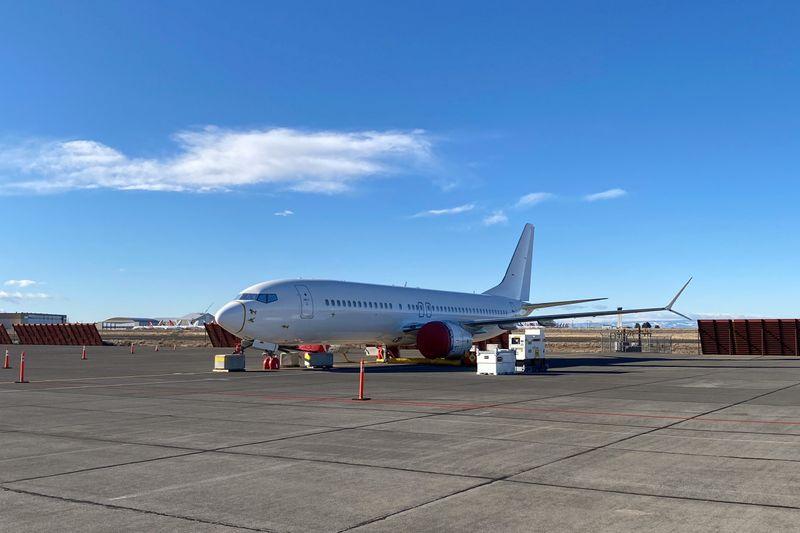 Boeing 737 MAX white tail in Moses Lake, Washington