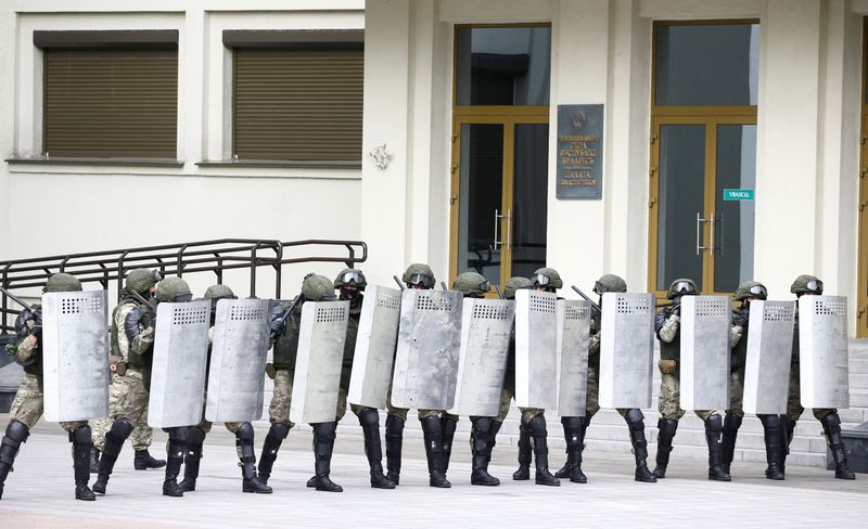 FILE PHOTO: Opposition supporters protest against presidential election results in Minsk